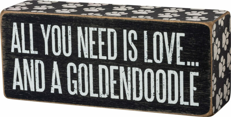 Goldendoodle All You Need is Love Box Sign