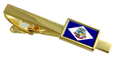 Cabo Frio City Rio de Janeiro Estado Bandera Oro Tie Clip Grabado...