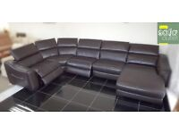 Designer brown leather 5 piece corner lounger sofa (419) £1899