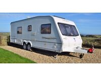 Bailey Senator Wyoming (2003) , Twin Axle, Fixed Bed, End Shower room, Kampa Rally Awning