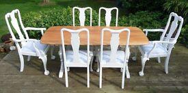 Oak Table and Chairs Farmhouse Annie Sloan Old White Cath Kidston