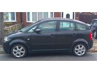 Black 2001 Audi A2 v.g.c. but non-running, requires battery, spares/repair, 57k miles, £1500