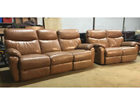 DFS 3+2 Tan/beige leather recliners DELIVERY AVAILABLE