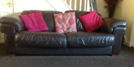 Large brown leather 3 pc suite