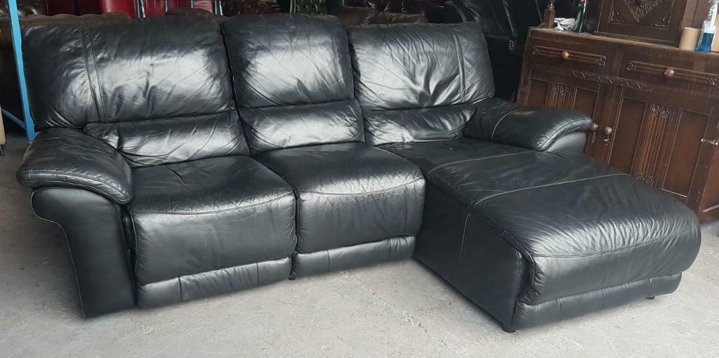 Dfs Black Leather Corner Style Recliner Sofa Can Deliver