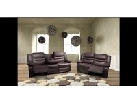 SAMSON 3 AND 2 SEATER LEATHER RECLINER SOFA - BRAND NEW