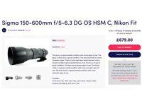 Sigma 150-600mm Nikon fit