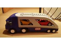 Kids Little Tikes large car carrier truck with 2 large cars that sit inside