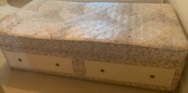 Single Divan Bed with Two Drawers for Storage