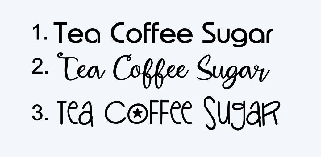 Tea Coffee Sugar Vinyl Decal Stickers.