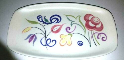 Poole Pottery Floral Dish; Rectangular in Shape with Florals