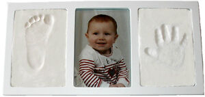 WHITE-Air-Dry-CLAY-WALL-PHOTO-FRAME-KIT-for-Baby-Child-Creates-Foot-Hand-Print