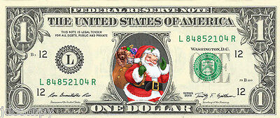Santa Claus #3 Christmas {Color} Dollar Bill - REAL Money! Stocking Stuffer!