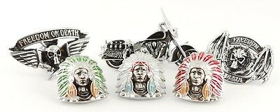 BIKER MOTORCYCLE CHIEF SKULL WEAPONS FREEDOM OUTLAW PIN SET (6 PACK)