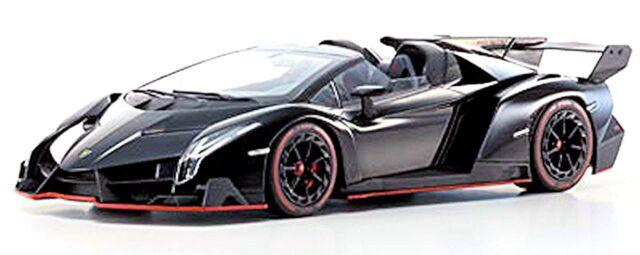 Lamborghini Veneno Roadster 2013 Black Black Red Line 1:18 Kyosho
