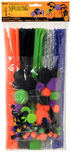 Halloween Chenille Stems Craft Pack w/ Pom Poms & Googly Eyes - Fun Project Kit!