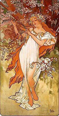 ALPHONSE MUCHA VINTAGE POSTER Spring Art Print RARE NEW (Mucha Vintage Poster)