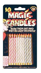 Pack of 10 Re-lighting Joke Magic Trick Birthday Cake Candles