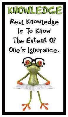 - Fridge Magnet: FROG LOGIC - KNOWLEDGE (Funny Motivational Quote)