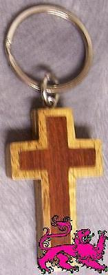 Intarsia Solid Wood Key Ring Religious Christian Cross