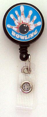 BOWLING BALL & PINS Retractable Badge Reel ID Card Holder Key Ring Chain