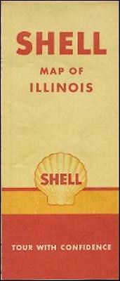 1946 Shell Oil Co Road Map Illinois Route 66 Springfield Peoria Rockford Chicago