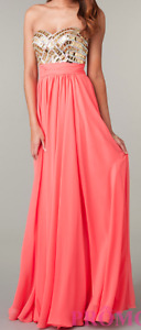Strapless Gold and Coral prom/grad dress