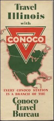 1939 Conoco Oil Gas Station Locator Road Map Illinois Route 66 Peoria Rockford