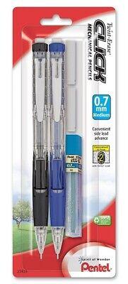 Pentel Twist Erase Click Pencils W2 Eraser Refills Lead 0.7mm Black Blue