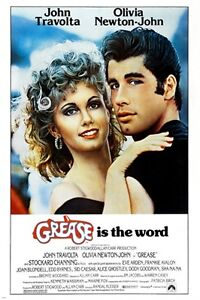 classic movie poster GREASE olivia NEWTON JOHN john TRAVOLTA 50's 24X36