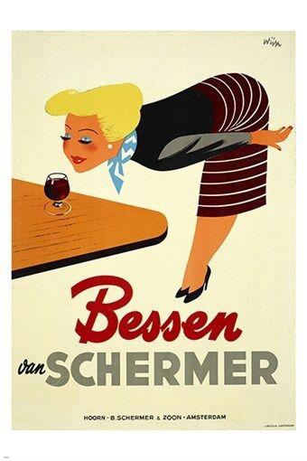 BESSEN SCHERMER berry liquor VINTAGE FOREIGN AD poster AMSTERDAM 24X36 rare