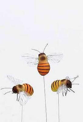 12 Deko-Bienen am Stab Frühjahrsdeko Floristik Biene Basteln Dekorieren Deko
