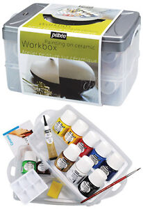 Ceramic paint workbox bottles solvent based painting set for Solvent based glass paint
