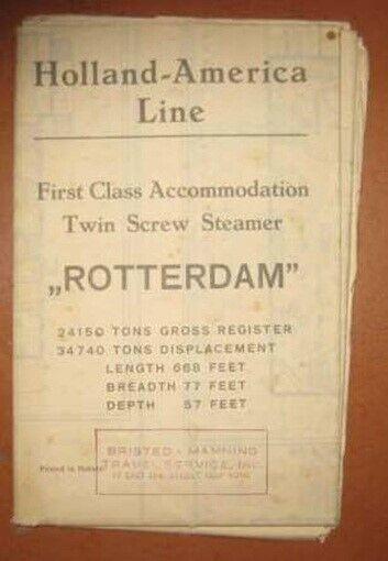 ROTTERDAM (Holland America) 1929 1st CLASS DECK PLAN