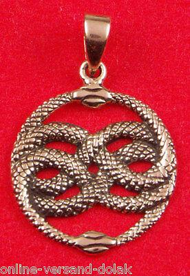 Aurin Schlangen Anhänger Bronze, Auryn Schlangen Amulett mit Lederband schwarz