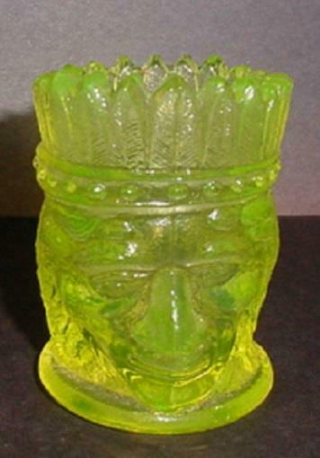 Vaseline Glass Indian Toothpick Holder
