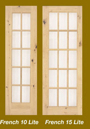 1 - 10 - Or 15 Lite Stain Grade Knotty Alder Solid Wood French Clear Glass Doors