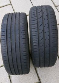 Part worn (5mm+) 'Continental' tyres x 2 (195/50/R15)