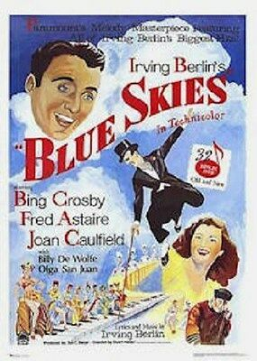 BLUE SKIES ~ Fred Astaire & Bing Crosby ~ 26x38 Movie Poster ~ Irving Berlin!