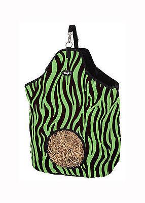 neon green Zebra Print Heavy Denier Nylon Feed Horse Hay Bag  Stall new Trailer
