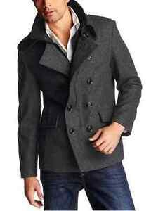 in puncto caban neu grau herren kurz mantel jacke wolle winter ebay. Black Bedroom Furniture Sets. Home Design Ideas