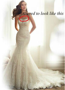 Fit and Flare Ivory Wedding Dress Fits Size 2 or 4. Lace details