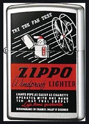 Zippo Lighter. Fan Test Design. No 206. Satin Chrome Finish!  BNIB! - Fan-test
