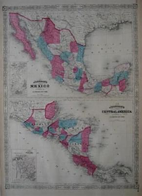 2 Original 1867 Johnson Maps MEXICO + CENTRAL AMERICA