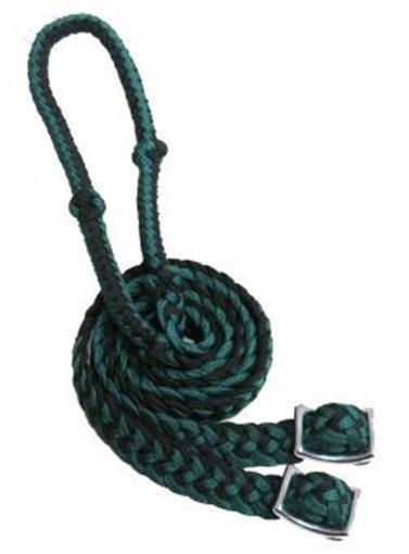 Showman Premium BLACK LIME GREEN Braided Nylon Contest Reins w// Snaps NEW TACK