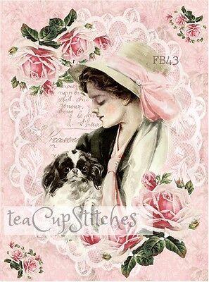 Fisher Lady~Papillon Dog~Roses~Vintage Image FABRIC BLOCK~Pillow~Shih Tzu~FB43