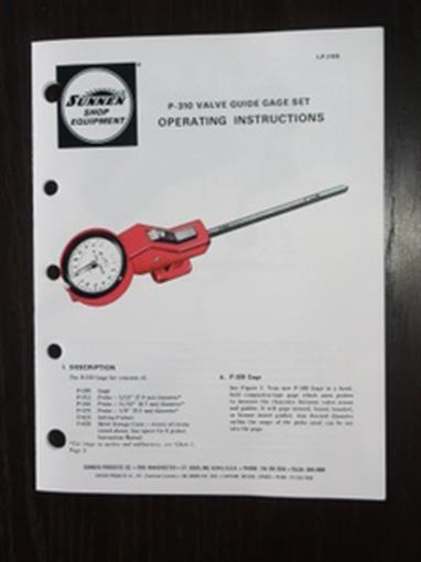 Sunnen P-310 Valve Guide Gauge Manual P310