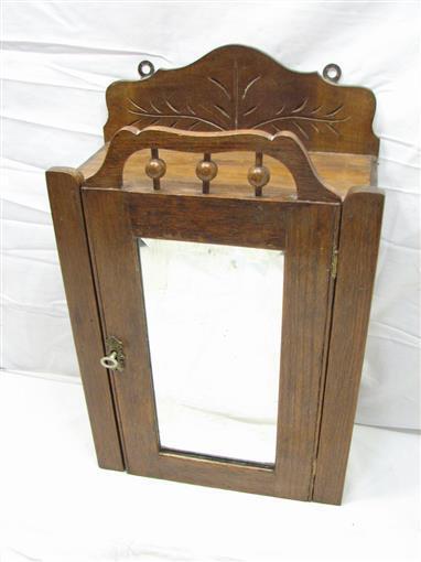 Antique Carved Medicine Cabinet Wall Mirror Spice Chest Kitchen Bathroom