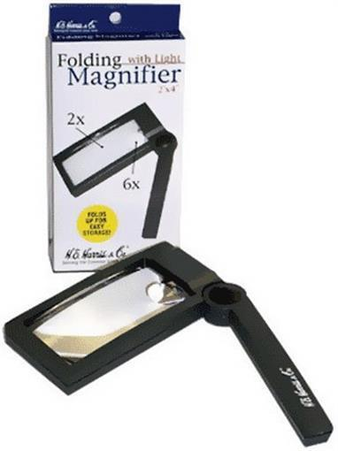 Illuminated Folding Magnifier 2X 6X Reading Small Letters Ingredients By Harris