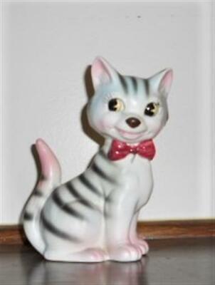 Vtg Cat Figurine Green & Pink Tiger Stripe Kitsch Ceramic Cute Kitten